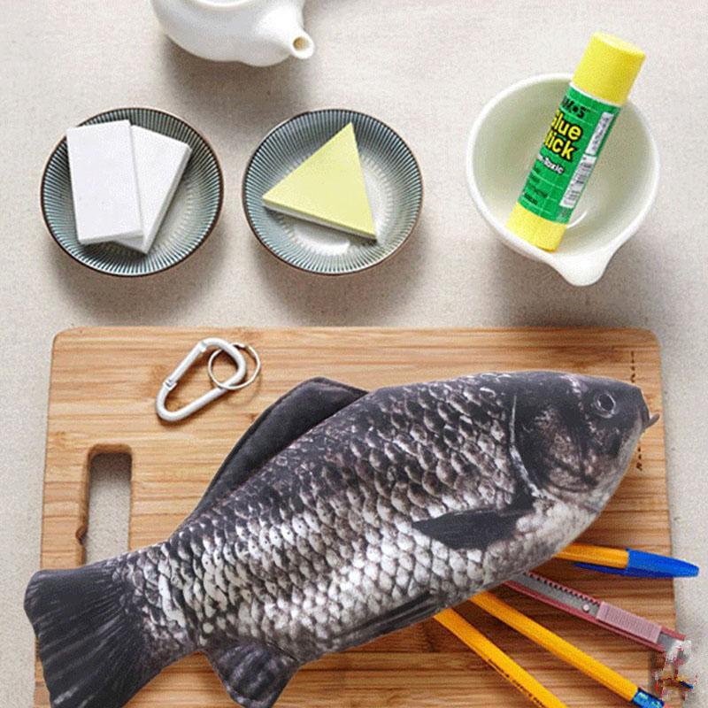 Simulada pescado caja de lápiz de Kawaii de nylon pencilcase Novedad bolsa para niños niñas regalo de la oficina lápiz de la escuela artículos de papelería linda