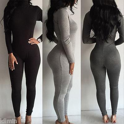 2017 femme vêtements Sexy Femmes De La Mode Col Roulé À Manches Longues Combinaison Body Combinaison costume