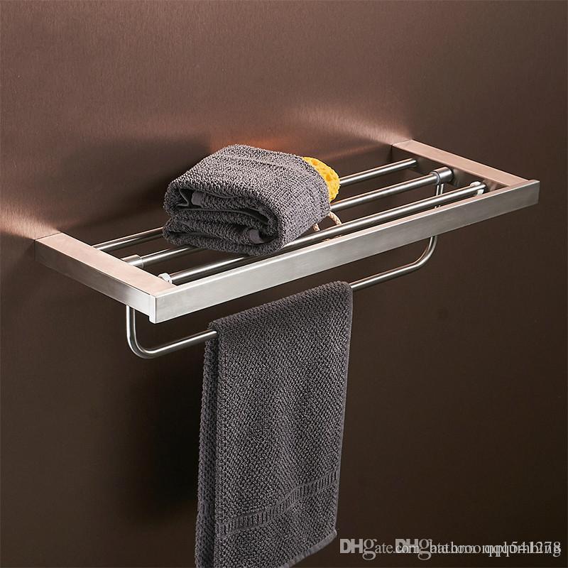 Porte-serviettes de salle de bains montés au mur Porte-serviettes de salle de bains en acier inoxydable