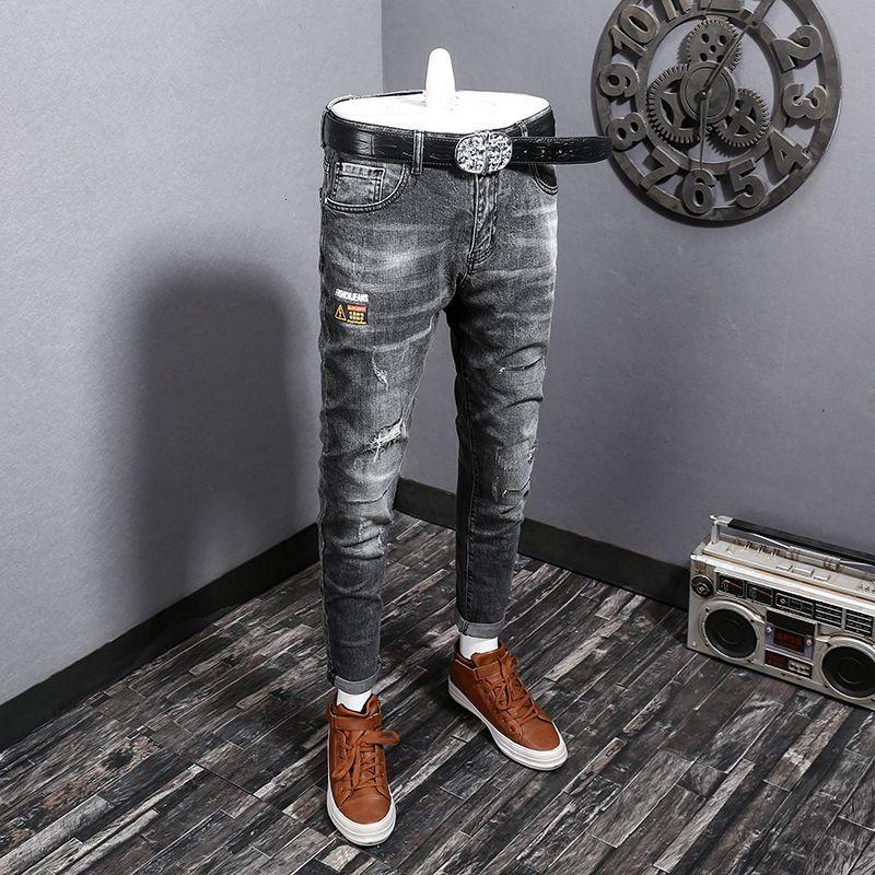 5PJK magro azul casuais impressos masculina de jeans leggings stretch homens furadas calças de brim dos homens