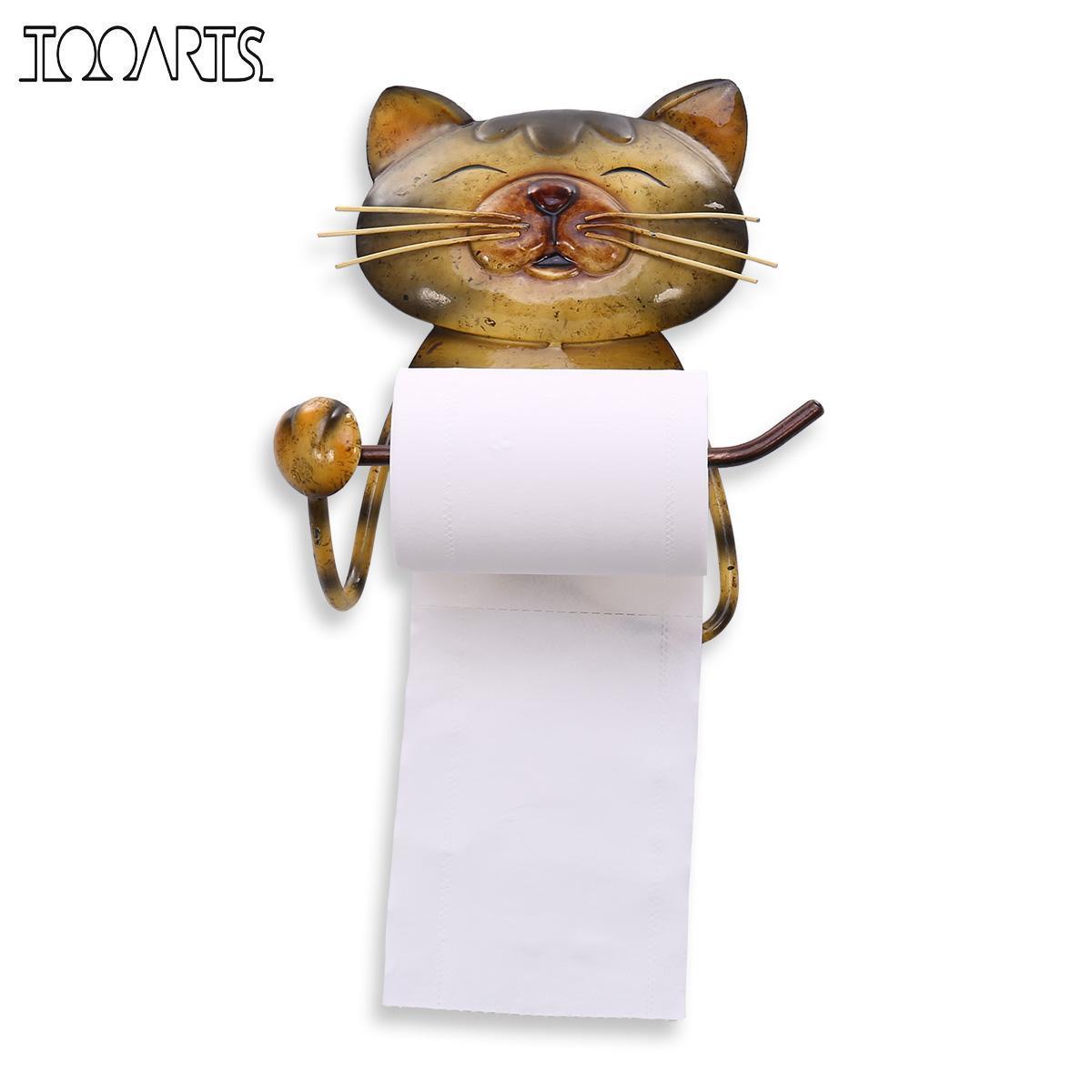 duvar depolama rafı T200319 için Kedi Kağıt Havluluk Vintage Dökme Demir Köpek Tuvalet Kağıdı Tutucu Standı banyo organizatörü Askı raflar