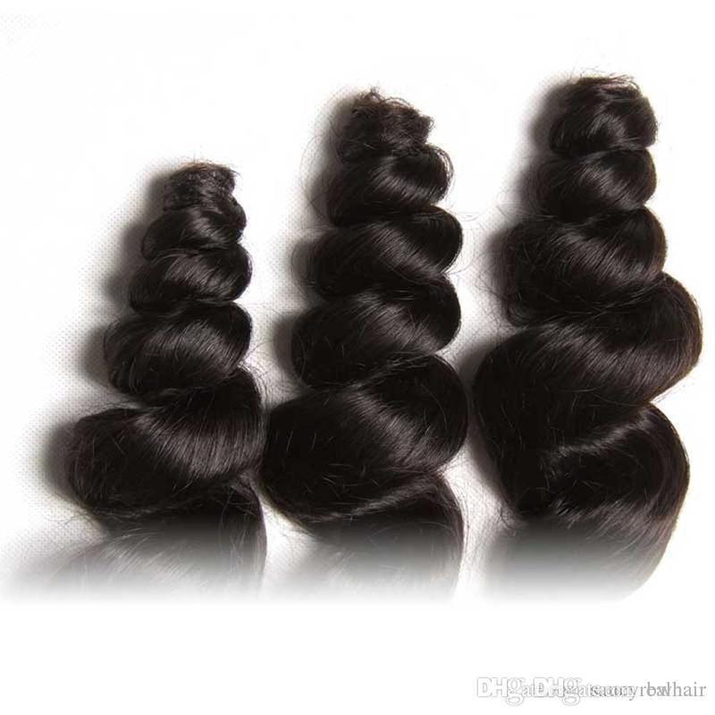Indian Virgin Hair Extensions Top Quality Malaysian Peruvian Brazilian Human Hair Weaves Loose Wave Hair 3 pcs lot