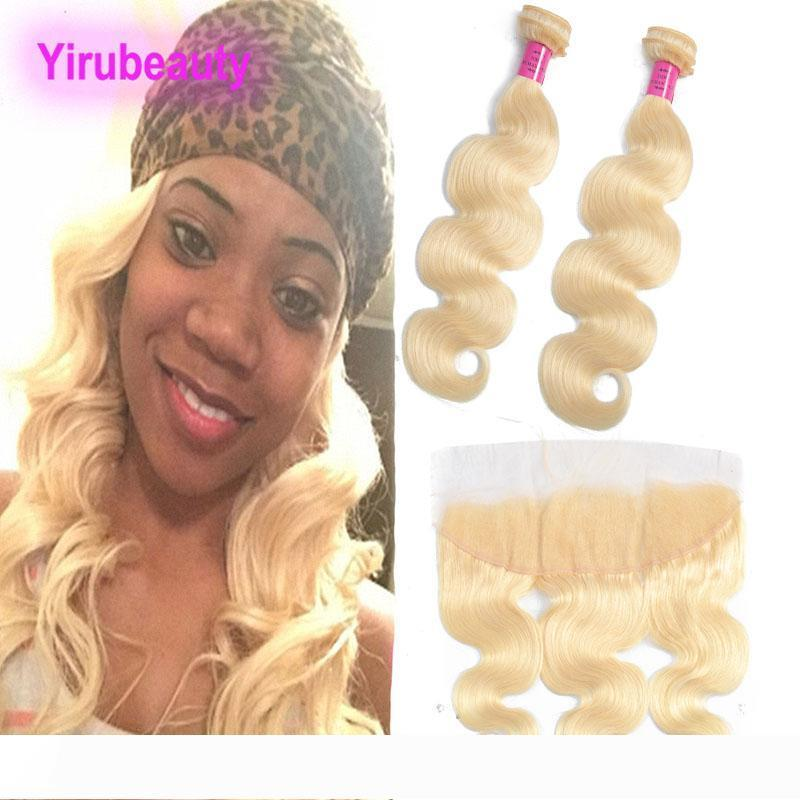 Brazilian Virgin Hair Extensions Body Wave Human Hair 2 Bundles With 13X4 Lace Frontal With Baby Hair Products 10-30inch Natural Color