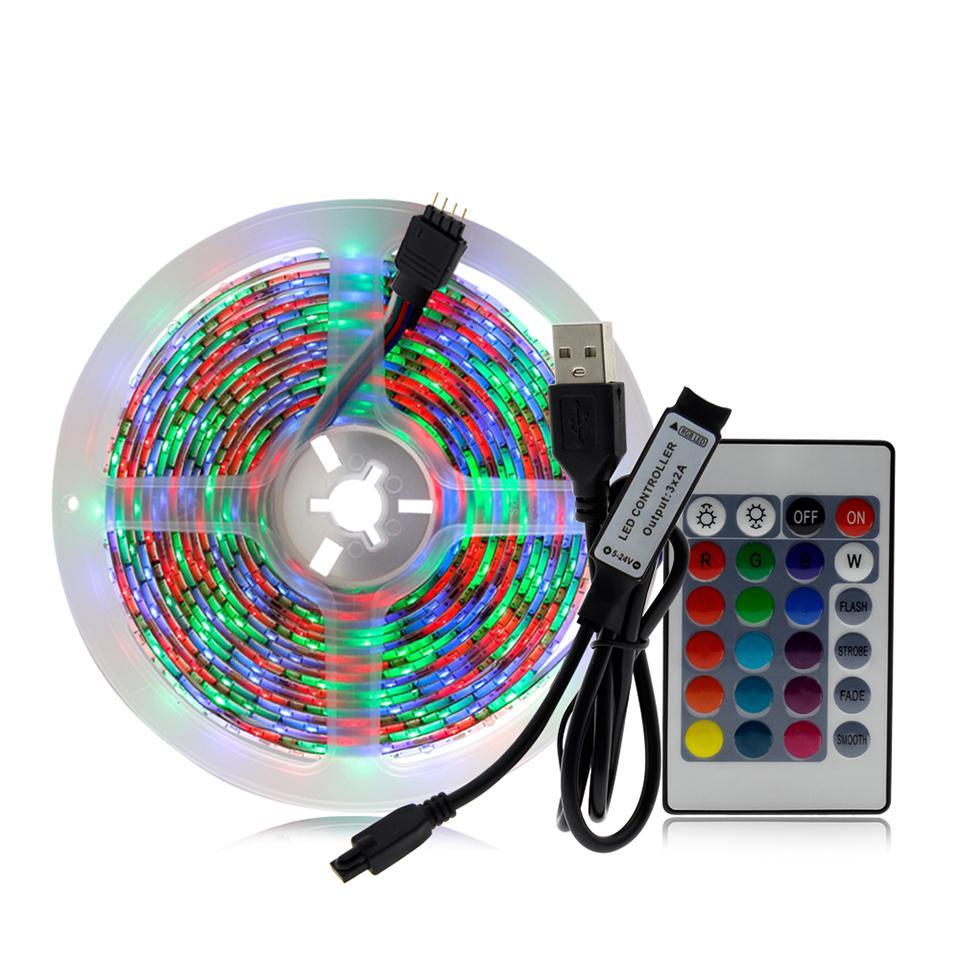 5V USB Şerit LED Işık 1M 2M 3M 4M 5M Isınma Beyaz / Beyaz / RGB LED Şerit 2835 TV Arkaplan Aydınlatma Decoracion Peri Işıklar