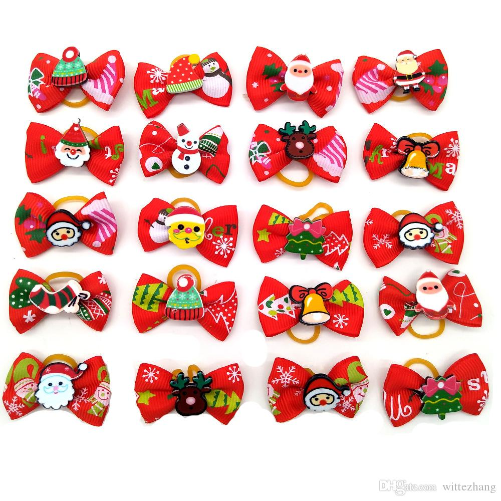 Les petits chiens Bows Toilettage cheveux chiot Accessoires Fournitures pour animaux Toilettage cheveux Yorkshire Table Bows Noël Halloween Pet Supplies