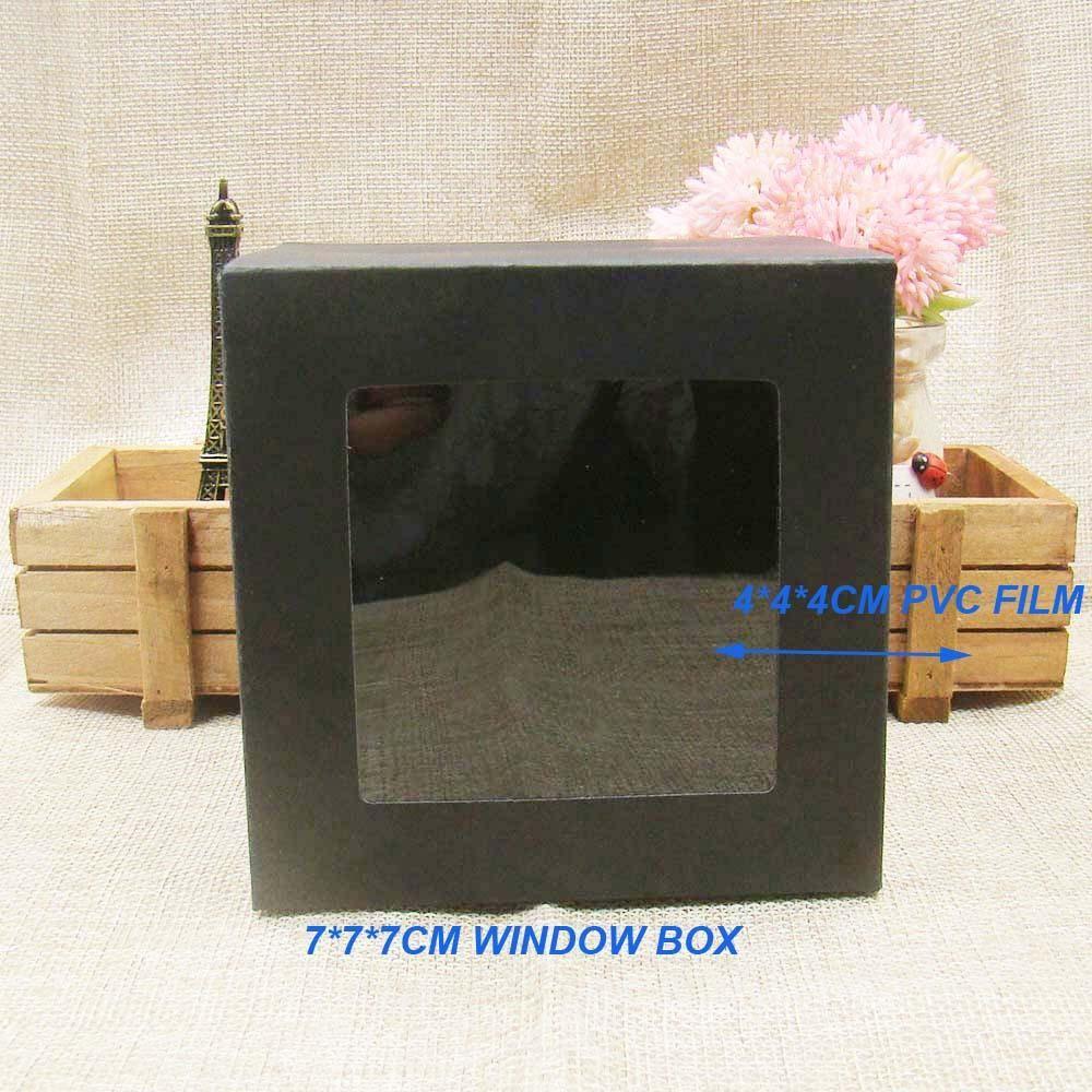 Wholesale-10 * 10 * 10cm30pcs freeshipping ورقة مربع التعبئة السوداء مع نافذة بلاستيكية واضحة ، عرض مربع مخصصة للهدايا / الحرفية تفضل cupcake
