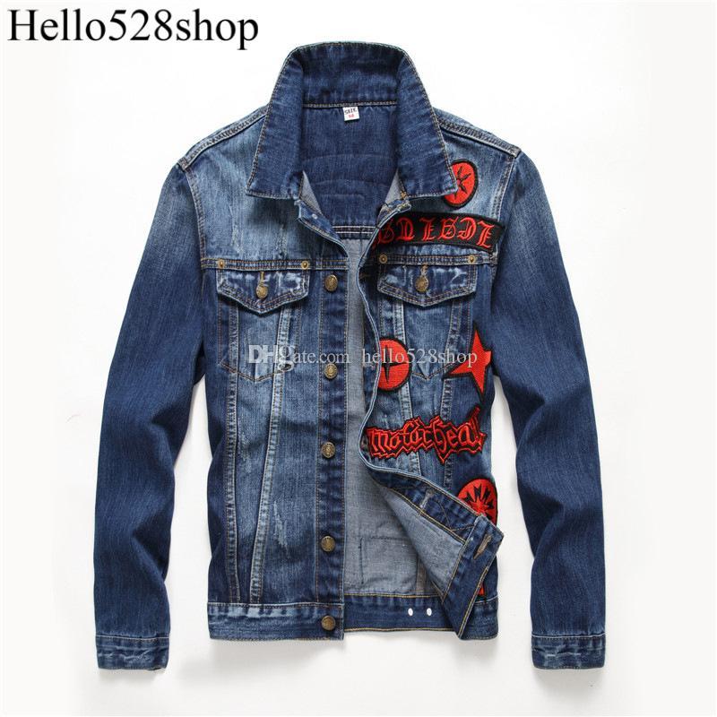 Hello528shop erkek Ince Yaka Boyun Uzun Kollu Denim Ceketler Kırmızı Çapraz Rozeti Kot Giyim Motosiklet Tarzı Slim Fit