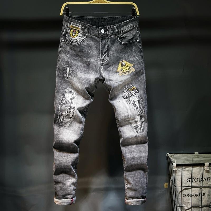 Calidad Denim Nueva manera de los hombres pantalones del estiramiento Thin Thin Personalidad bordado desgastados pantalones delgado delgado Jeans