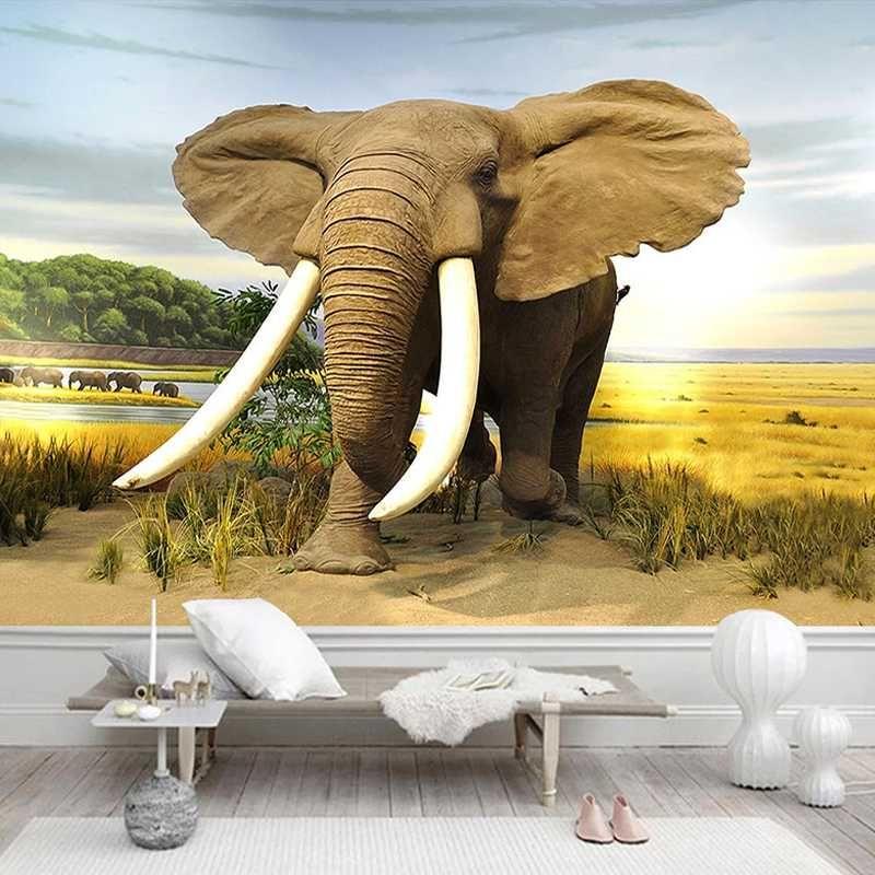 Перевозка груза падения на заказ Фото обои слон Природа пейзаж Картина маслом 3D Современные фона плаката украшения Mural
