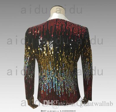 Freeship Herren Luxus Multi Farbe Pailletten voller bling roten Teppich zeigt Stehkragen kurze Jacke / Studio / Bühne Performance Jacke