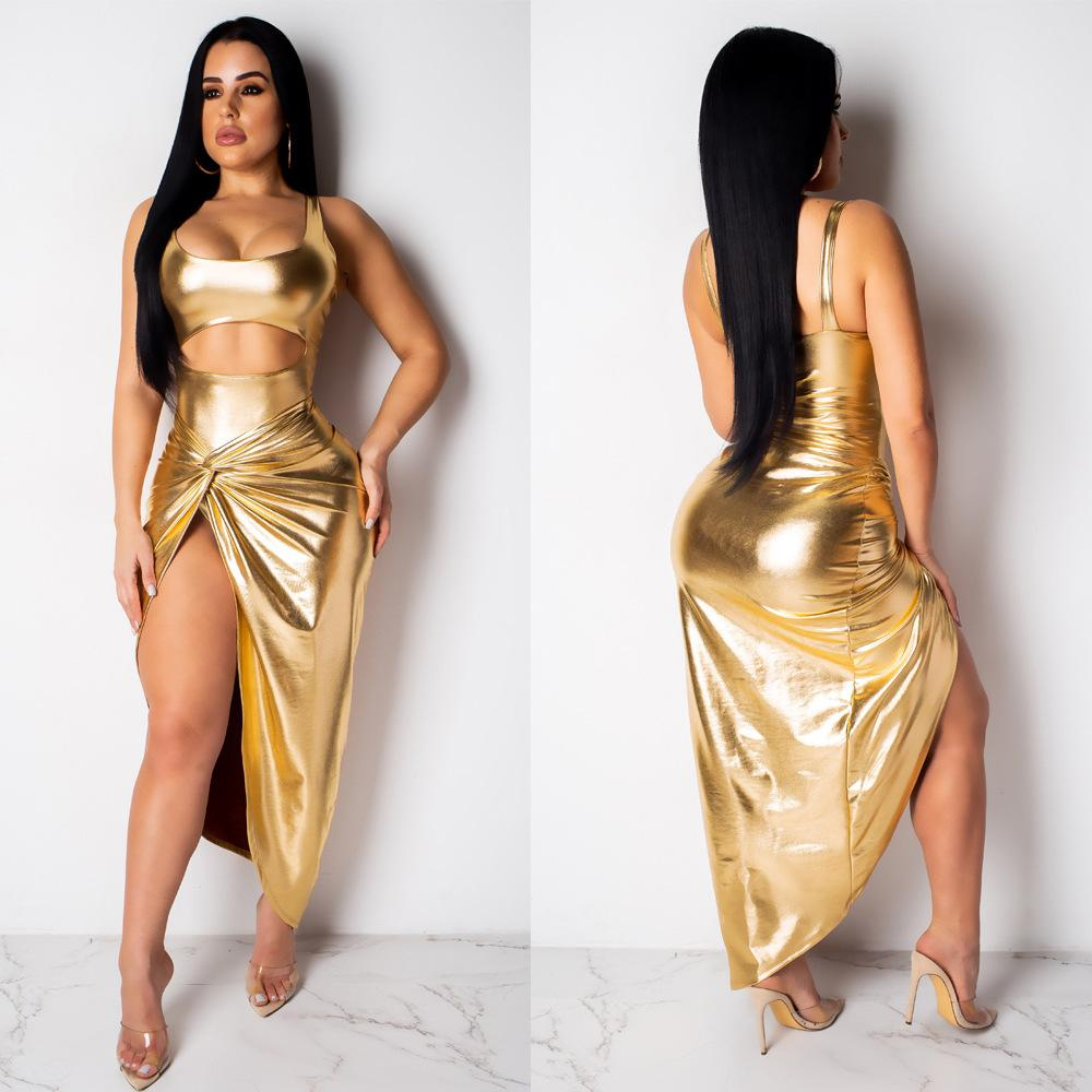 Gold Bandage Maxi Party Dress Women Sexy Hollow High Split Hot Stamping Metal Color Sleeveless Side Zipper Club Asymmetrical Dress