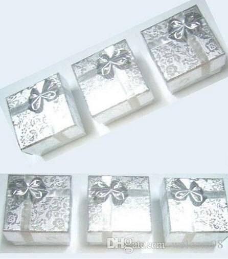 24 шт. / Лот Серебряные Смесители Цвета Кольцо Серьги Ювелирные Изделия Коробки для Подарочной упаковки Дисплей 5x5x3cm bx6