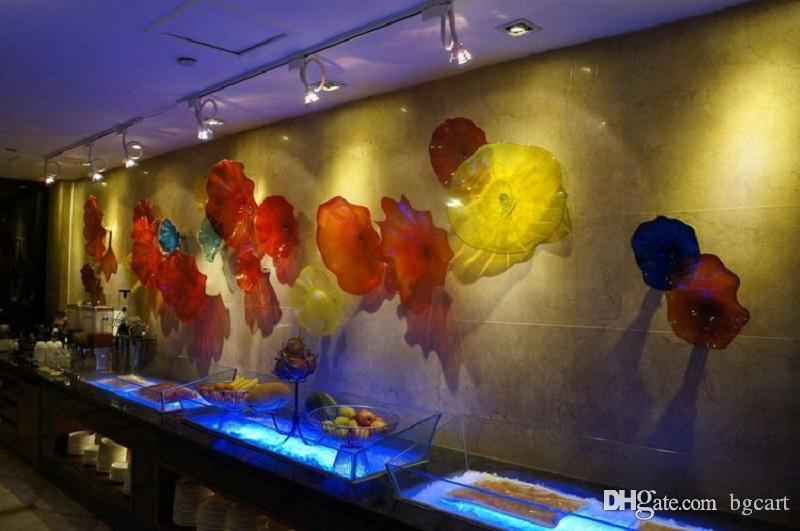 حار بيع جدار ديكور اليد في مهب معلق الفن الإبداعي الجدار الزجاجي لوحات اليد في مهب زجاج الثريا الكبيرة في مهب الزجاج لوحات جدار الفن