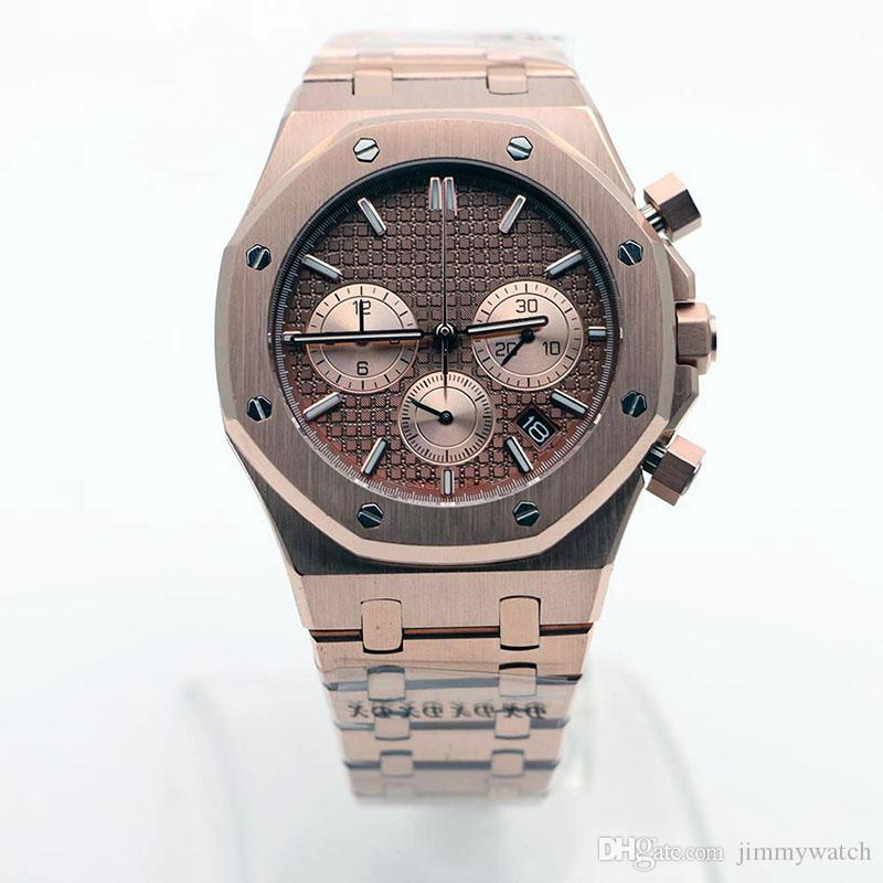 로얄 오크 다이버 멋지고 매력적인 남자 시계 41MM 블랙 레드 다이얼 야외 남성 시계 쿼츠 크로노 그래프 남자 손목 시계