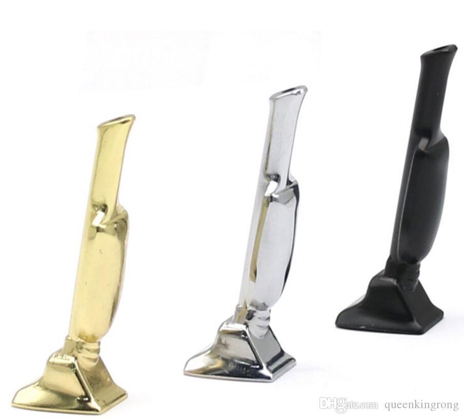 Metalltrophäenform Rauchende Rohre Tabak Hand Zigarettenfilter Kräuterpfeiler Hoover Hoover Snabink Snorter Für Glas Bong Dabber Bubblers