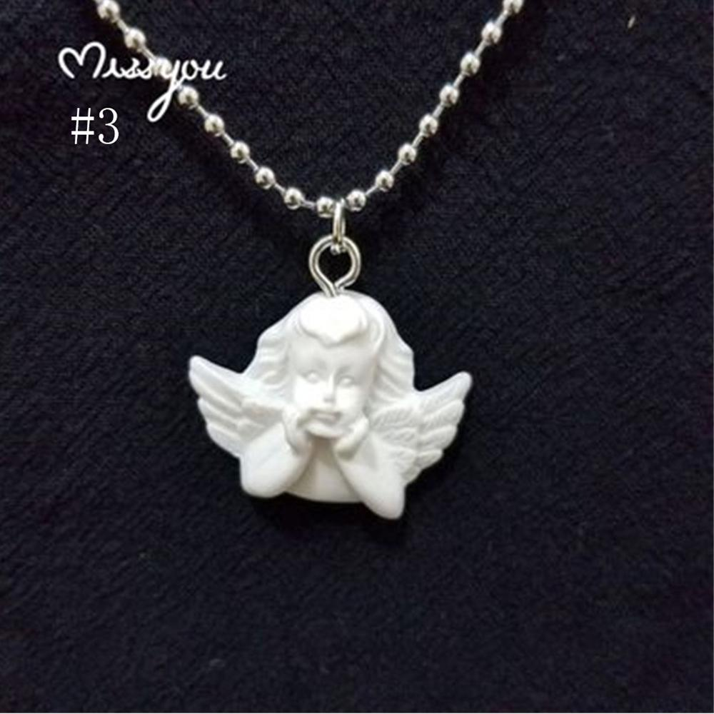 Cute Cupid Angel Pendant Stainless Steel Necklace Long Chain Baby Shaped Jewelry Sweetheart For Women Man