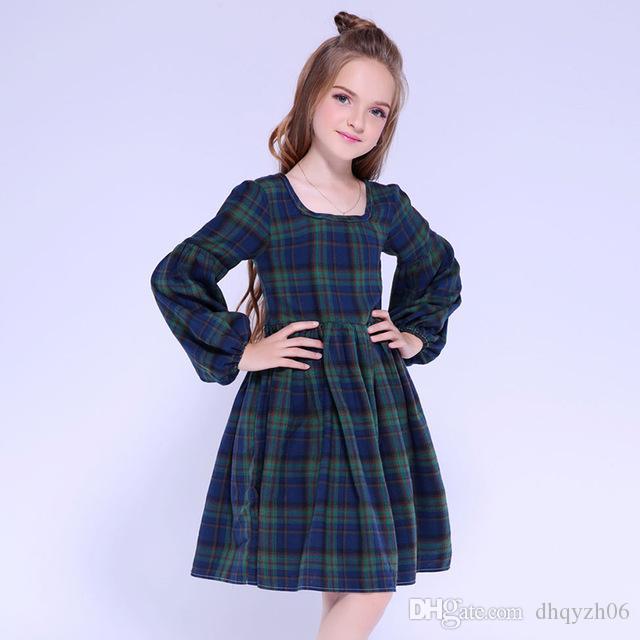 고품질 봄과 가을 어린이 드레스 코튼 격자 무늬 스퀘어 칼라 여자 드레스 퍼프 슬리브 주름 치마 어두운 녹색 무료 배송
