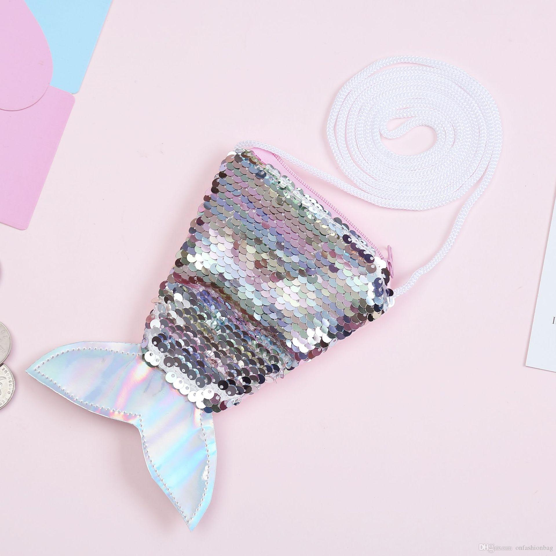 2019 new sequins coin purse lanyard coin bag small wallet children diagonal small bag fish tail two-color sequins purse women
