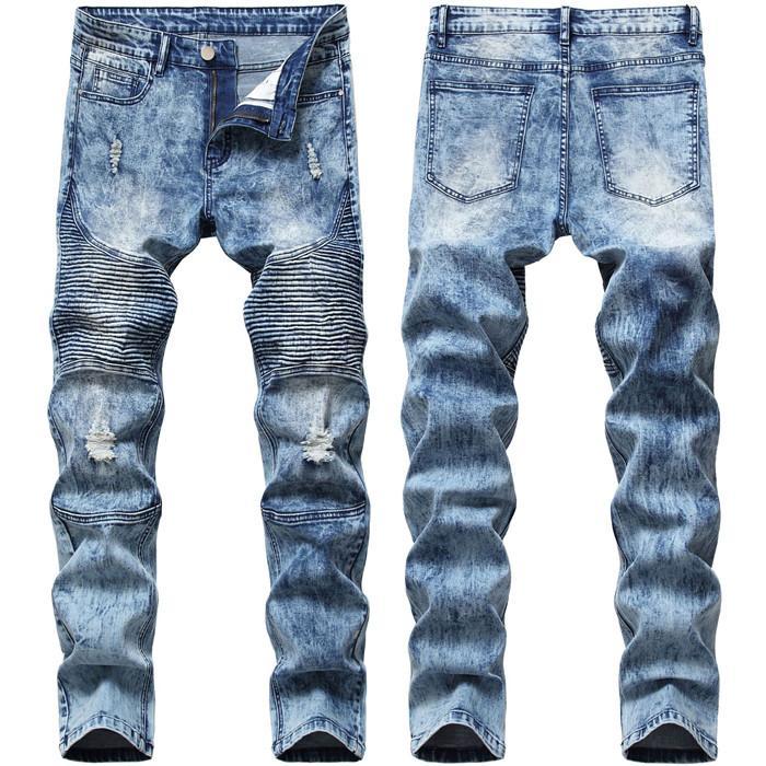 ممزق سليم هولي جينز رجالي المتعثرة السائق الدينيم للرجال مصمم الأزياء الهيب هوب جينز رجالي