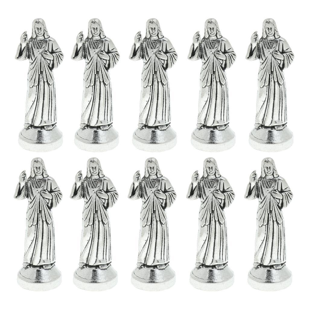 10шт Мини Иисус Религиозные Фигурка Домашнее украшение Статуя Silver 7см