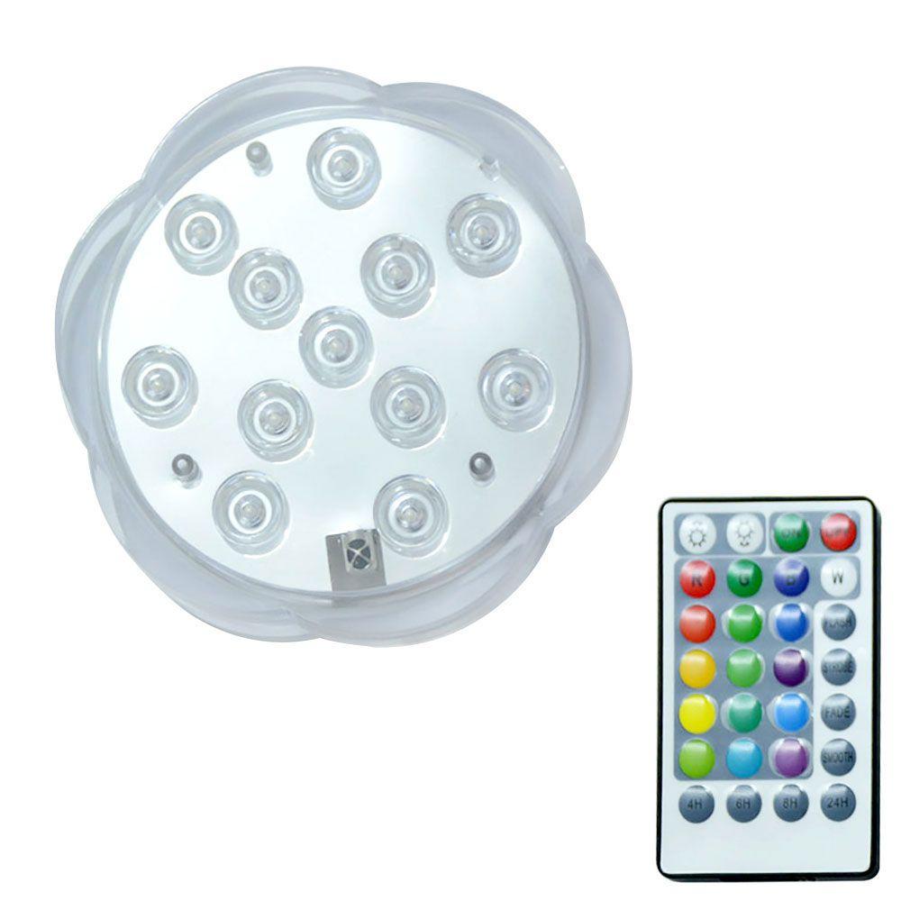 Led 원격 제어 RGB 잠수 빛 배터리 운영 수중 밤 램프 야외 꽃병 그릇 정원 파티 장식