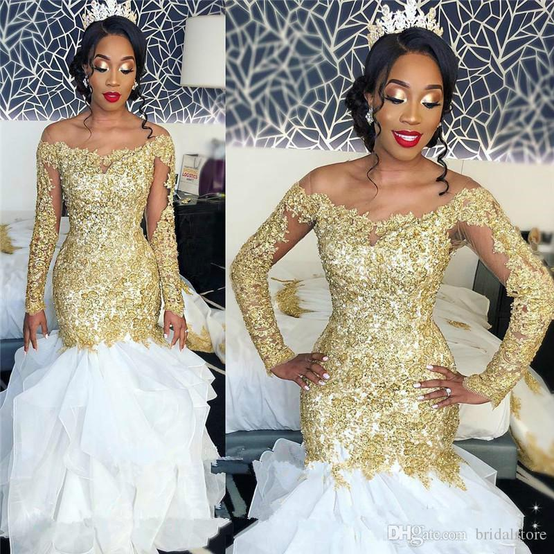 Robes de mariée africaines sirène, plus la taille d'or dentelle Appliques 2019 perles arabe robes de mariée à manches longues élégant organza volants pure cou