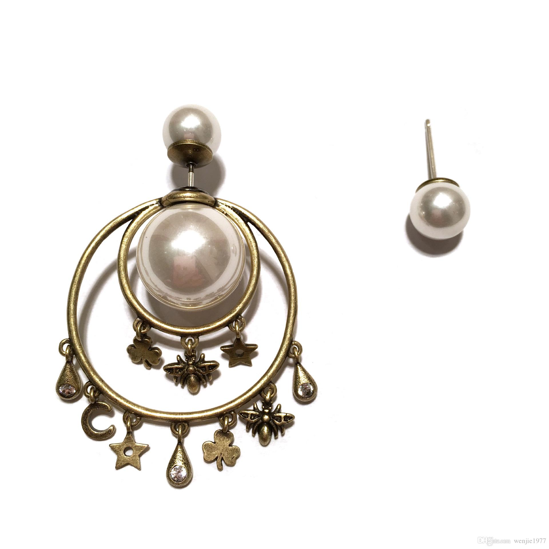 18 quilates de oro retro clásico pendientes de perlas de concha natural pendientes de diamantes pendientes de la marca collar de oro pendientes de gama alta