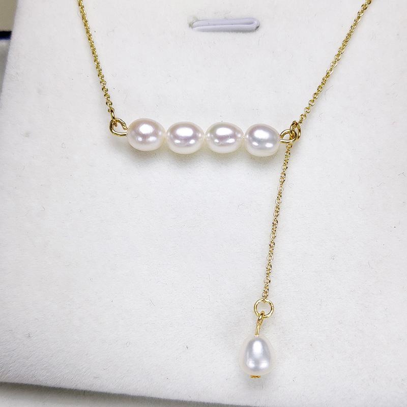 100٪ من اللؤلؤ بالنسبة للنساء عارضة التوازن قلادة من اللؤلؤ 14k الذهب معبأ قلادة 6 أنماط أزياء اليدوية مجوهرات صديقة هدية