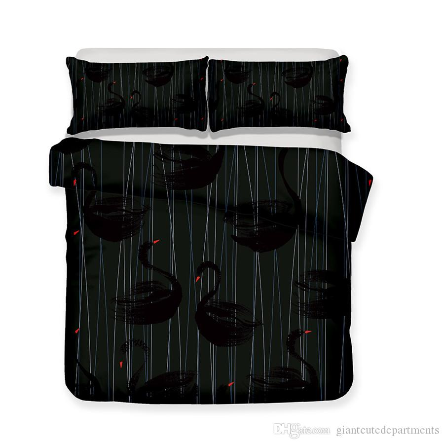 Wild Animal Series Black Swans With Head Up 3D Lifelike Bedding Set Print Duvet Cover Doona Cover Set Bed linen Home Textiles