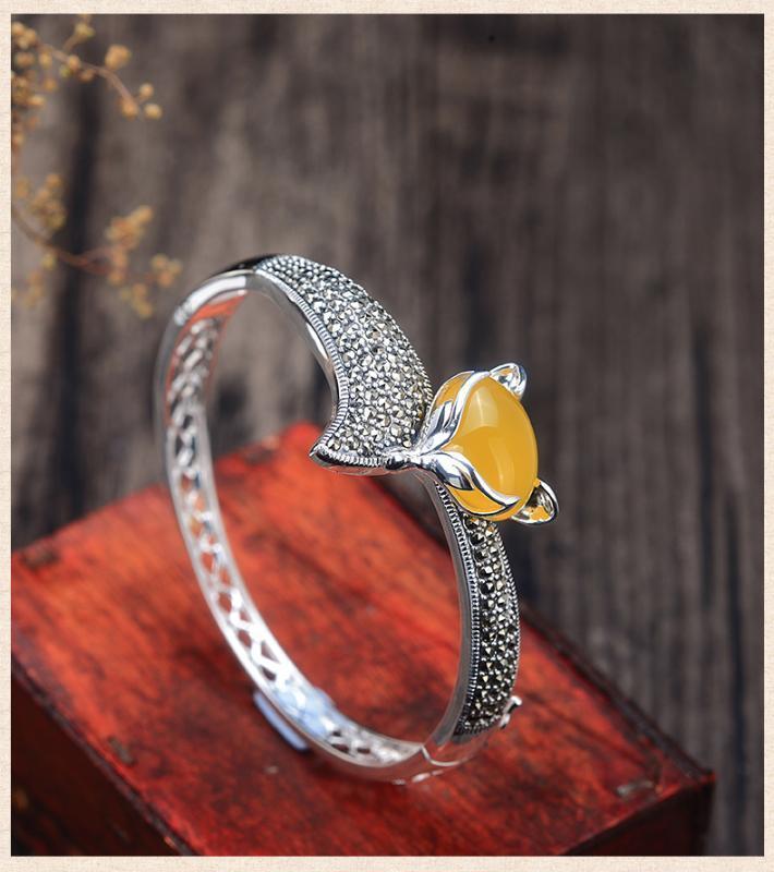 Giallo naturale braccialetti del braccialetto di giada con argento 925 giadeite dei braccialetti giada regolare braccialetto donne