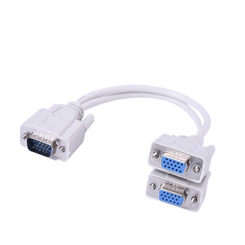 VGA Male to 2Female Splitter Cable SVGA Monitor Adapter Extension Converter Cord