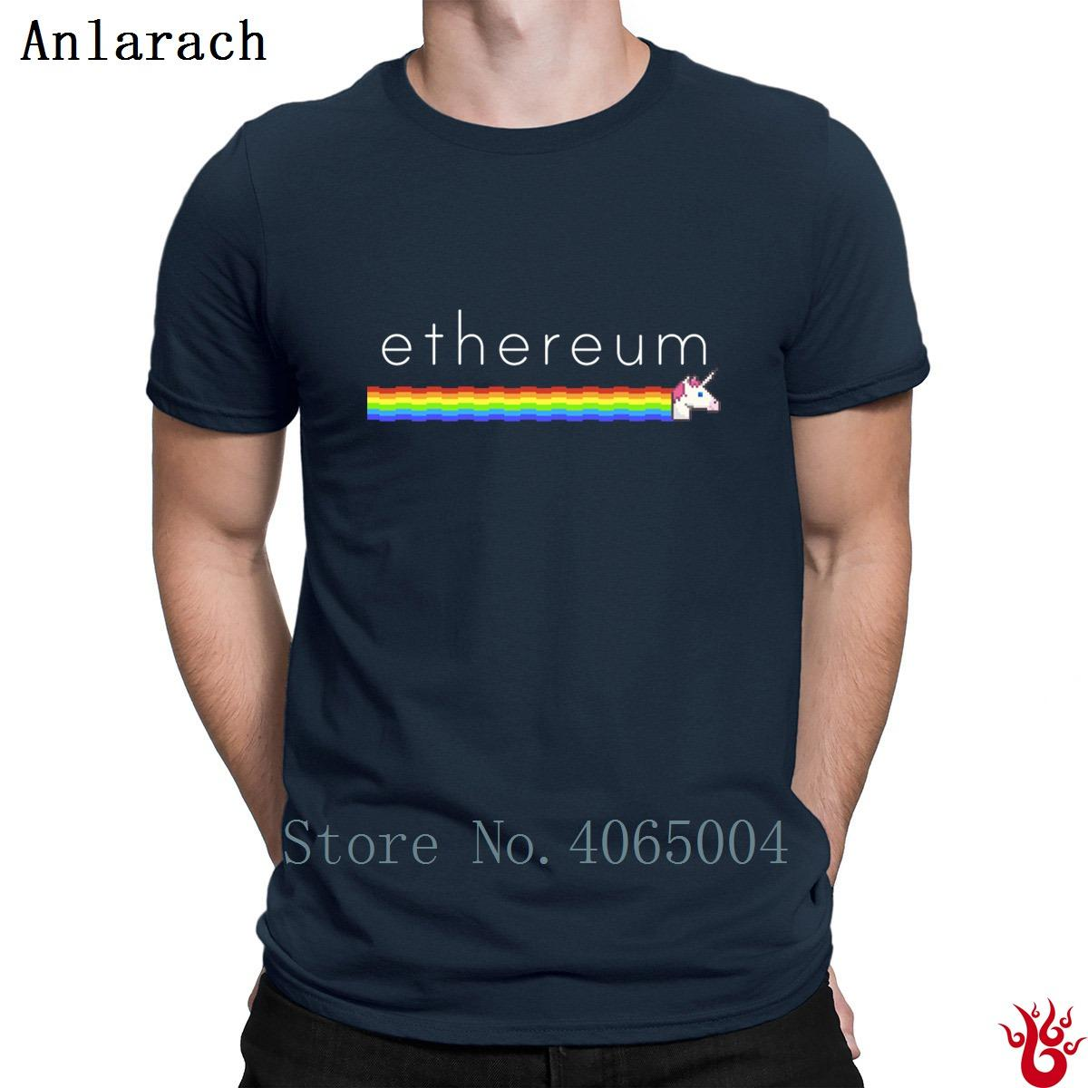 Etereum unicornio del arco iris T Shirts Eth único Hiphop anti-arrugas de cuello redondo camiseta para los hombres del diseñador delgado 2018 del 100% divertido