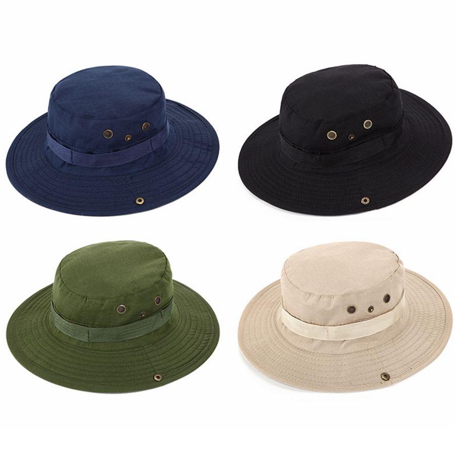 Açık Balıkçılık Güneşlik Şapka Rahat Kamp Geniş Ağız Güneş Kap Moda Erkekler Seyahat Batı Kovboy Kova Şapka TTA1581