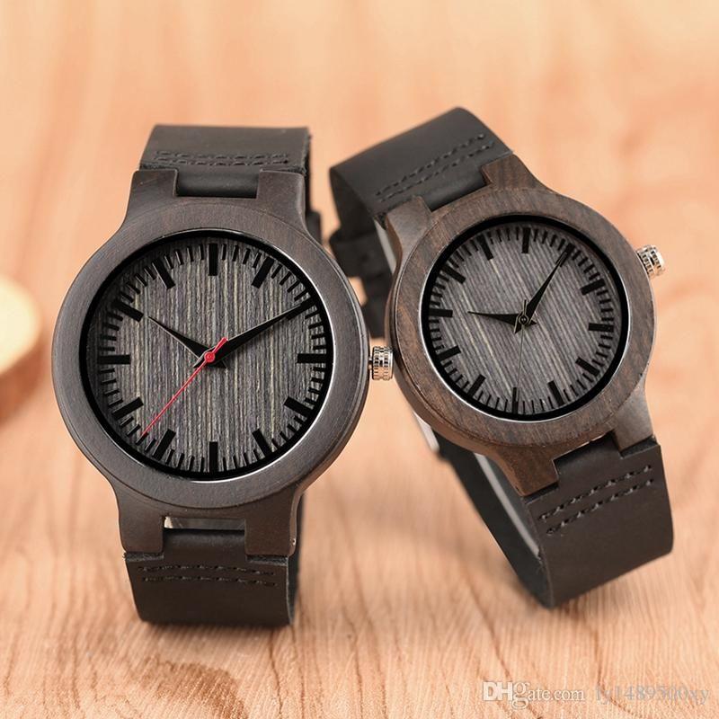 Top Luxury Ebony Natural Wooden Clocks Casual Leather Wood Men Women Quartz Wristwatch Fashion Lovers Souvenir Valentine Gifts Dress Watch