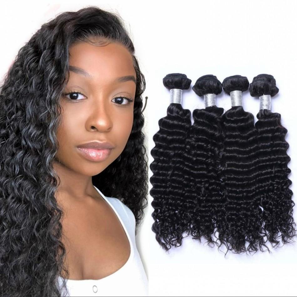 4 Bundles Deep Wave Human Hair Weaves 100g/pc Mongolian Virgin Hair Natural Color Double Drawn Weft