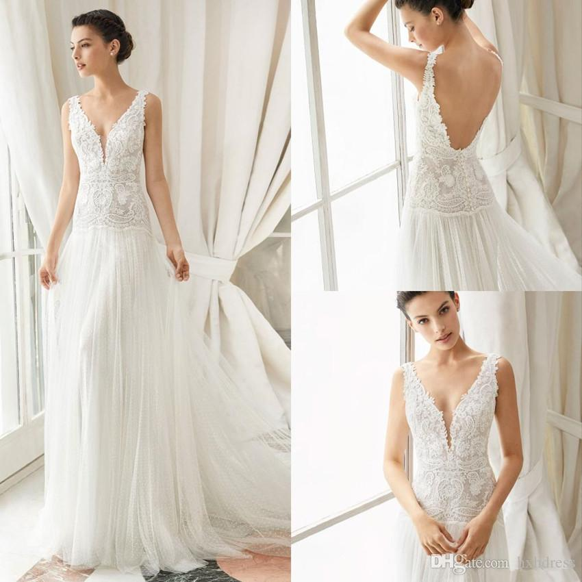 Gali Karten Bohemia Wedding Dresses V Neck Sexy Backless A Line Lace Appliques Beach Wedding Dress Spot Tulle Plus Size Bridal Gowns 4311