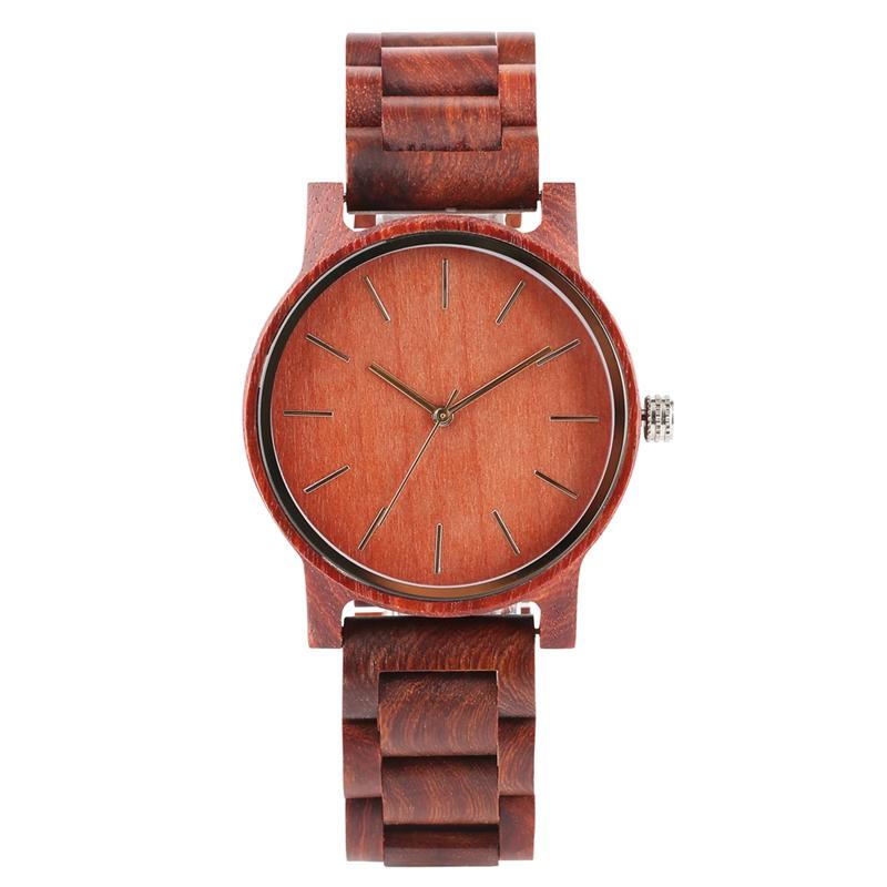 Casual Handmade Wooden Watch for Men Supper Light Quartz Wooden Watch Durable Red Sandalwood Watches with Golden Pointer for Women