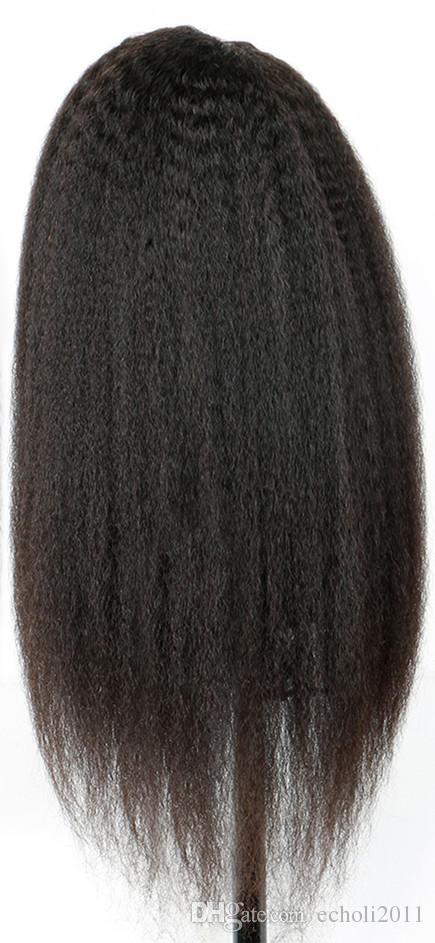 Afro-américain perruque avant de dentelle droite crépus yaki italien raides cheveux humains pleine perruques de dentelle pour les femmes noires 130%