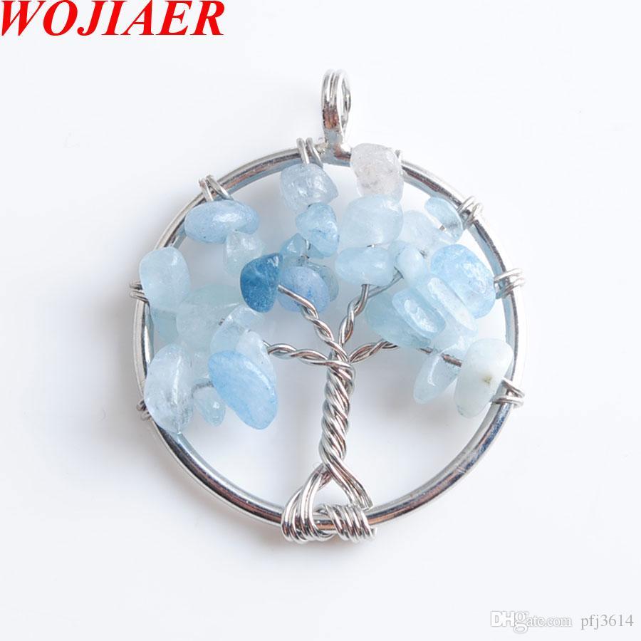 Árbol del collar de la vida colgante Natural El Mar cuentas de chip de piedra gema azul 7 Chakra envuelto alambre Mujeres DN8009 cadena de la joyería