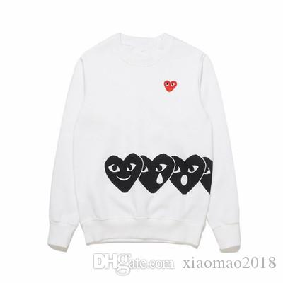 연인 새로운 가을 얇은 물방울 무늬 후드 심장 인쇄 코트 조깅 운동복 풀오버 블랙 화이트 스웨터 후드