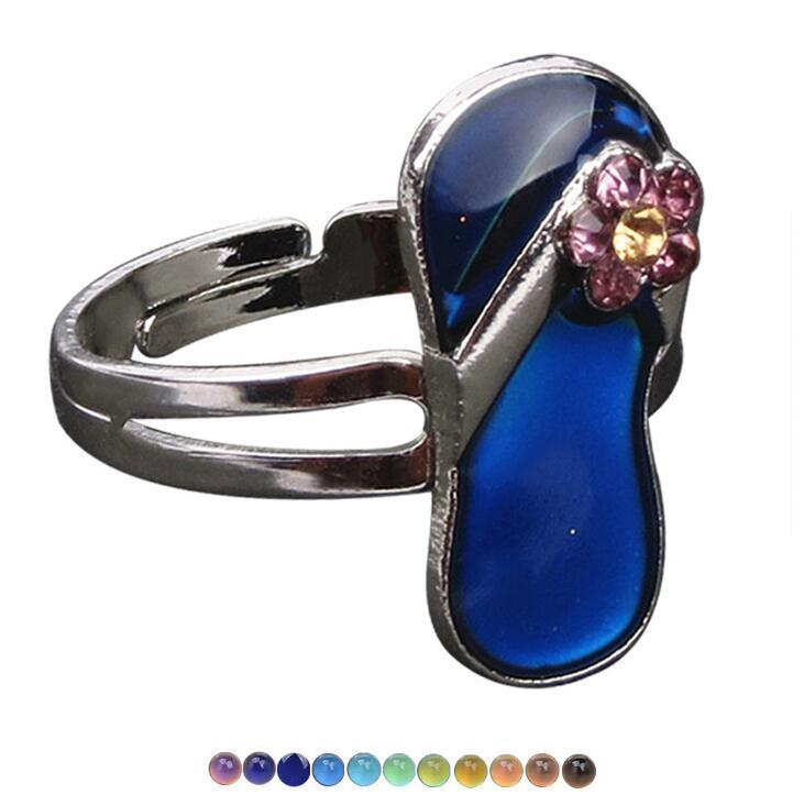 Creative Change Color Mood Shoes Ring Emotion Feeling Changeable Gemstone Ring Band Temperature Control Color Adjustable Rings Women Jewelry