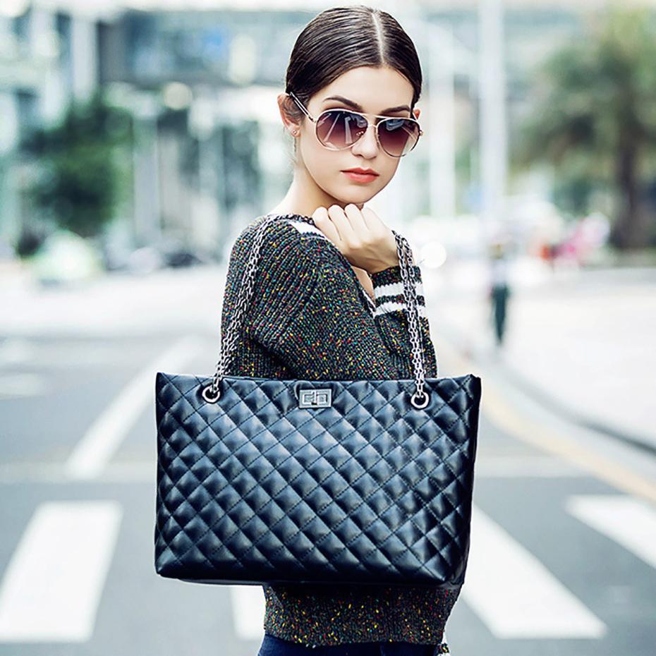 Canal diseñador de la tela escocesa de lujo-Cruzado bolsas para las mujeres 2019 hembra de gran tamaño bolsos de diseño de cuero Negro totalizador del mensajero Las mujeres deben