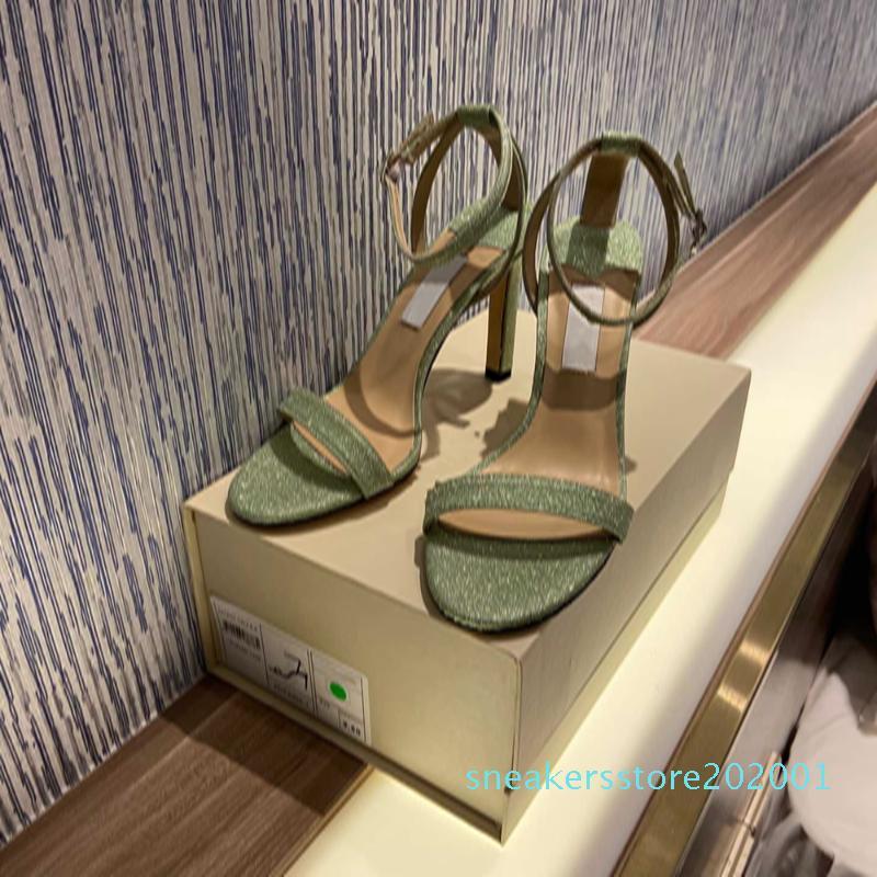 Designer de Luxo Mulheres Sandálias de Verão Hot Sell Bling Senhoras sapatos tornozelo-Strap Abrir Toe Bombas Salto Alto Comfoetable Mulheres Sapatos s01