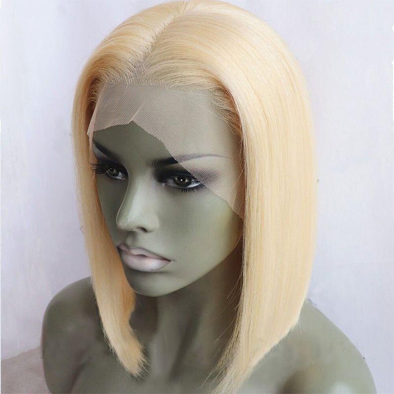 # 613 bob peluca del frente del cordón del cortocircuito peluca del pelo humano recto sedoso del cordón peluca rubia a todo color con alta densidad de bebé