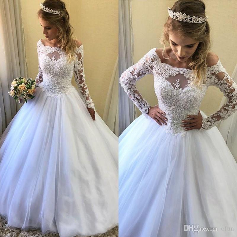 2019 Gorgeous Bateau Neck Vestidos de novia de manga larga Apliques de encaje A Line Sweep Train Tulle Vestido de novia Vestido de novia
