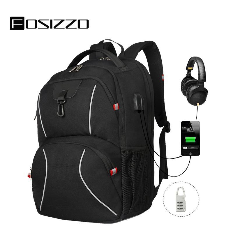 FOSIZZO viaggio Zaini Uomo Extra Large universitari bookbags Notebook Regali per gli uomini con porta USB di ricarica Zaino FS4012