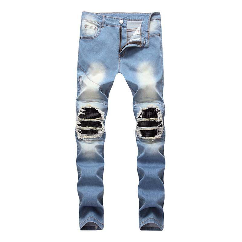 Jeans motard jeans vintage denim Drapée Fermeture éclair pantalon Lavé de haute qualité Blanchi Livraison gratuite