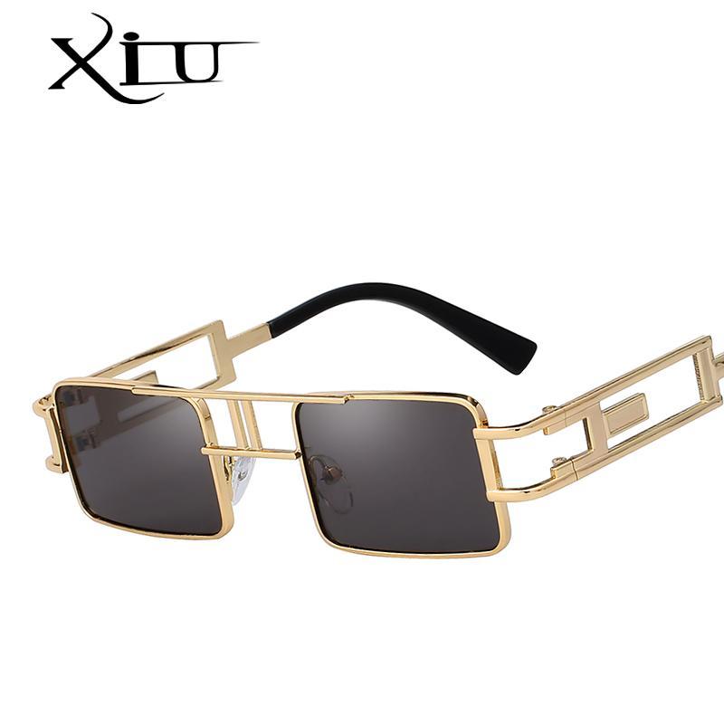 XIU Praça Steampunk Óculos de sol das mulheres dos homens Vintage Sun óculos Brand Design Summer Fashion Óculos Top Quality UV400