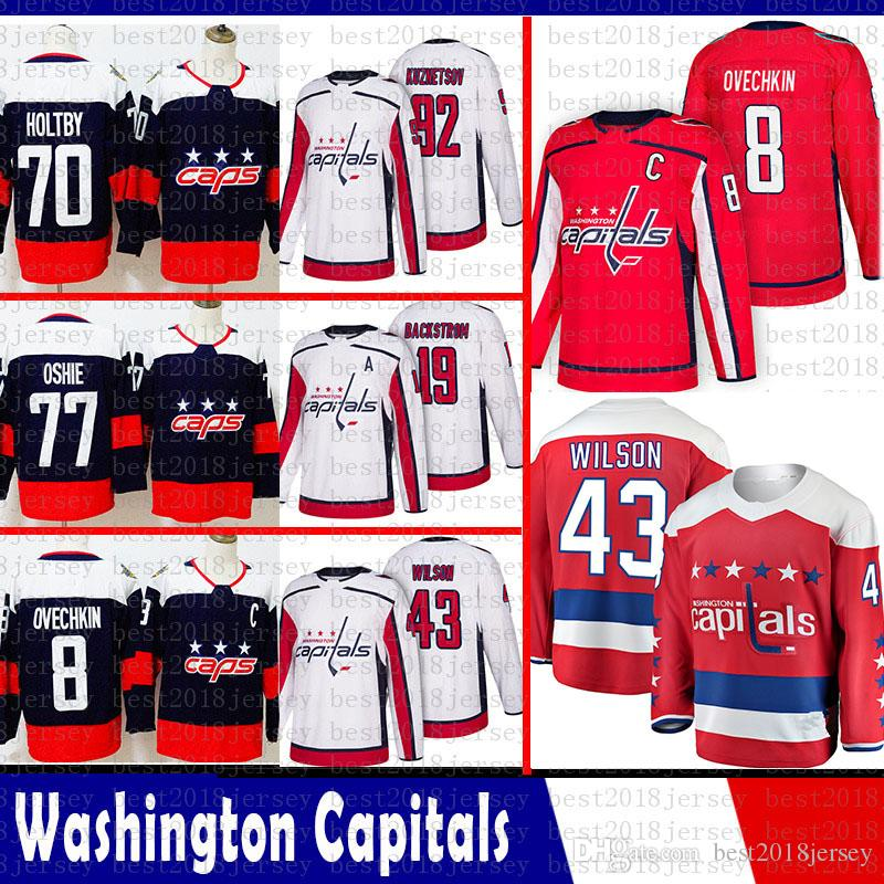 erkekler Washington Capitals 8 Alex Ovechkin Hokeyi Formalar 92 Kuznet 43 Tom Wilson 77 TJ Oshie 70 Braden Holtby 19 Nicklas Backstrom Jersey 2018