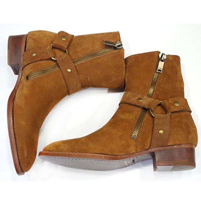 Moda Wyatt Biker Zincirler Bilek Boots Erkek Ayakkabı Sivri Burun Toka Bay Bot Kahverengi Deri Erkekler Elbise Botaş Militares Shoesb94d # Ayakkabı